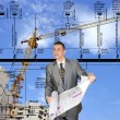 Engineering designing of residential buildings — Stock Photo