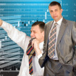 Teamwork of businessmen-brokers — Stock Photo