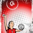 Red volleyball background - Stock Vector