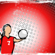 Stok Vektör: Red volleyball background 2