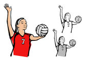 Volleybal players — Stock Vector