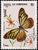 Stamp, butterfly and flower. — Stock Photo