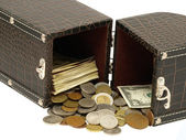The box with the money. — Stock Photo