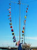 Sea alarm flags. — Stock Photo