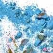 Broken pastel particles and paint - Stock Photo