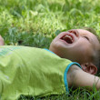 The little boy cries while lying in grass — Stock Photo #4012170