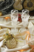 Christmas Arrangement with glasses — Stock Photo