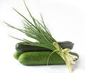 Bunch green onions cucumbers and zucchini — Stock Photo