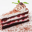 Cake with cherry and chocolate - Stock Photo