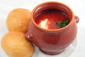 Borsch in the pot — Stock Photo