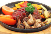 Stew with vegetables and mushrooms — Stock Photo