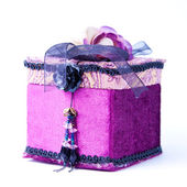Purple gift box with a rose isolated. — Stock Photo