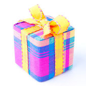 Colorful striped gift box isolated. — Stock Photo