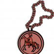 Stock Photo: Pendant Coin and Chain