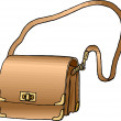 Stock Photo: Golden Purse with Long Strap.