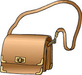 Golden Purse with Long Strap. — Stock Photo