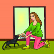 Girl Posing with Cat — Stock Photo