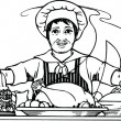 Stock Photo: Professional Chef Life Drawing