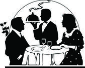 Dining Out sillouette — Stock Photo