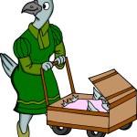 Bird with Stroller — Stock Photo #4160874