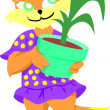 Girl Cat with Plant — Stock Photo