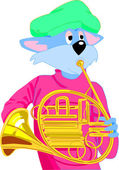Cat Playing French Horn — Stock Photo