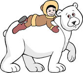Polar Bear & Boy — Stock Photo