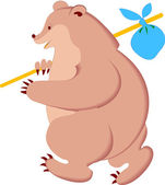 Bear with Knapsack — Stock Vector