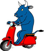 Bull on Scooter — Stock Vector