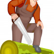 Stock Vector: Farmer Cutting Wood