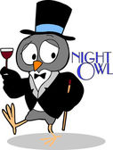 Night Owl wearing Tux & Top Hat — Stock Vector