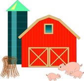 Barn, Silo, & Pigs — Stock Vector