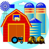 Farm Buildings & Silos — Stock Vector