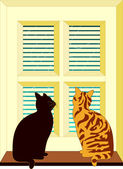 Cats at Window — Stock Vector