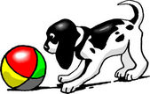 Puppy with Ball — Vector de stock