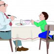 Father &amp; Son Dining - Stock Vector