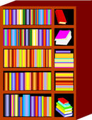 Book Shelf & Books — Stock Vector