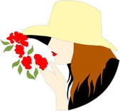 Smelling Roses — Stock Vector