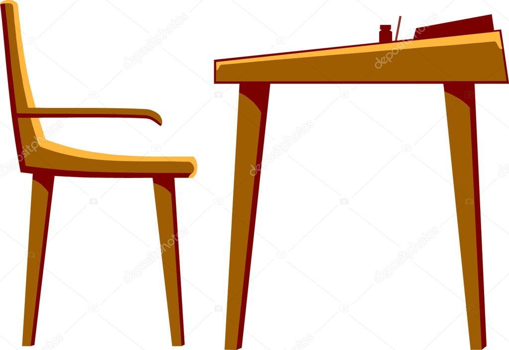 School Wood Desk & Chair | Stock Vector © Margaret Grissom #