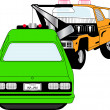 Stock Vector: Tow Truck Pulling Green Car