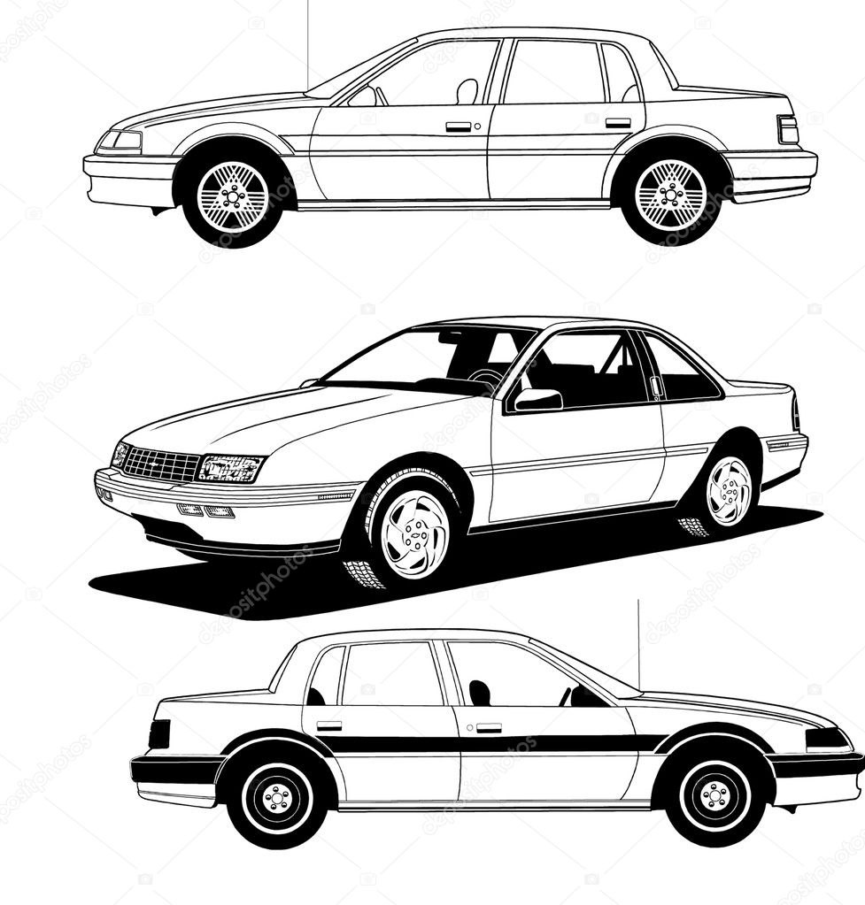 White Sedan Cars — Stock Vector #4533559