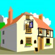 Stock Vector: Medievil Cottage Pub & Inn