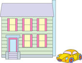 Dollhouse & Car — Stock Vector