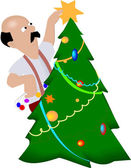 Decorating Christmas Tree — Stock Vector