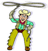Cartoon Cowboy with Lasso — Stock Vector