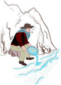Prospector Panning for Gold — Stock Vector