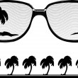 Stock Vector: Abstract Sunglasses & Palm Trees Silhouette