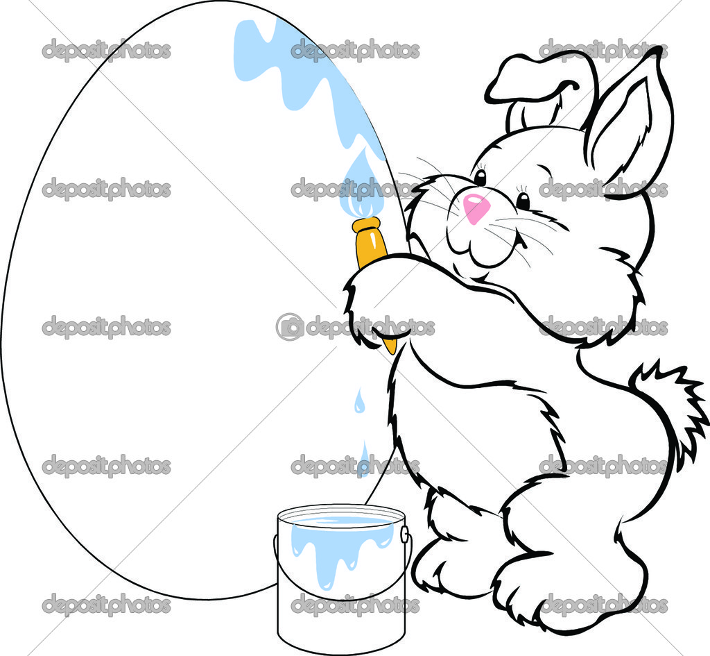 Bunny Painting Very Large Egg — Stock Vector #5237809