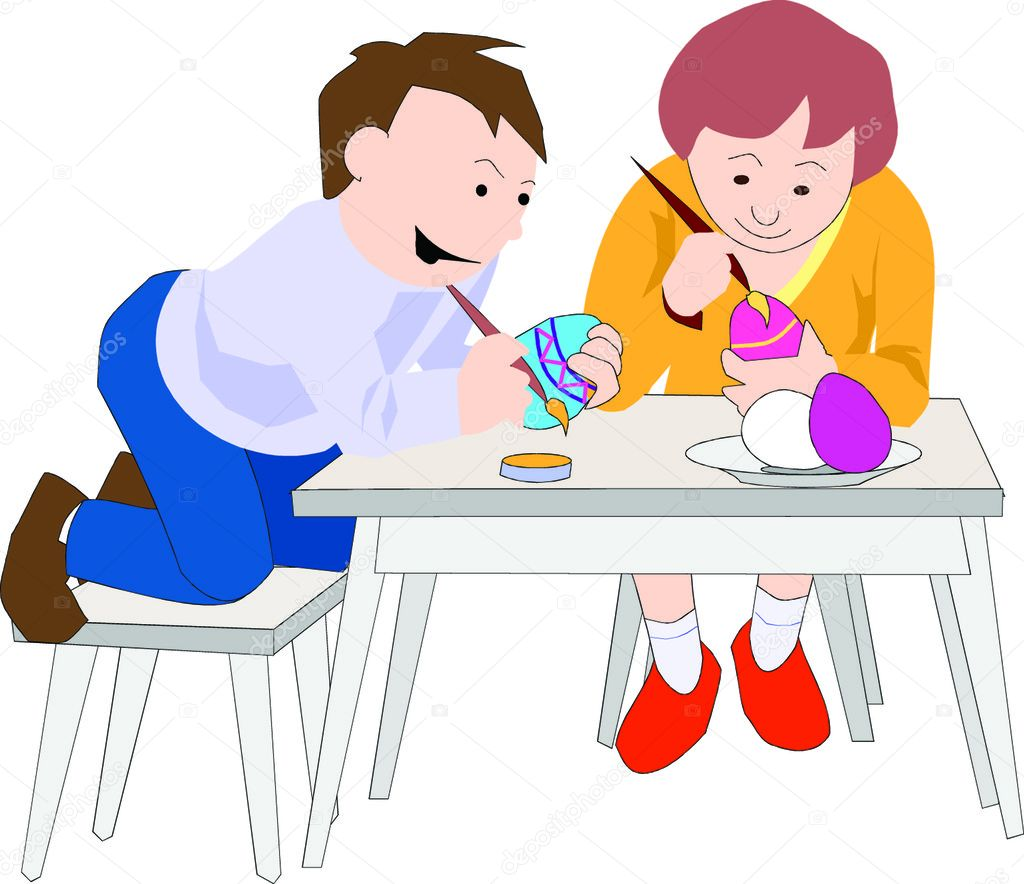 Mother and Child Sitting at the Table Painting Easter Eggs — Stock Vector #5237812