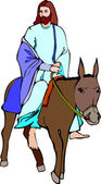 Jesus Riding Donkey — Stock Vector